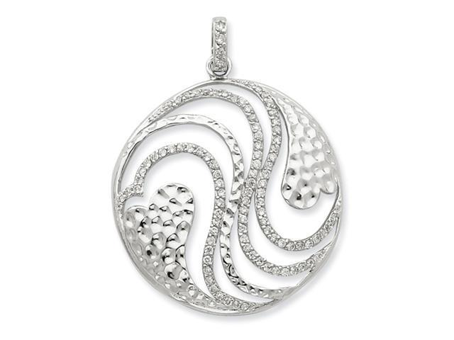 Sterling Silver Hearts and CZ Swirls Pendant