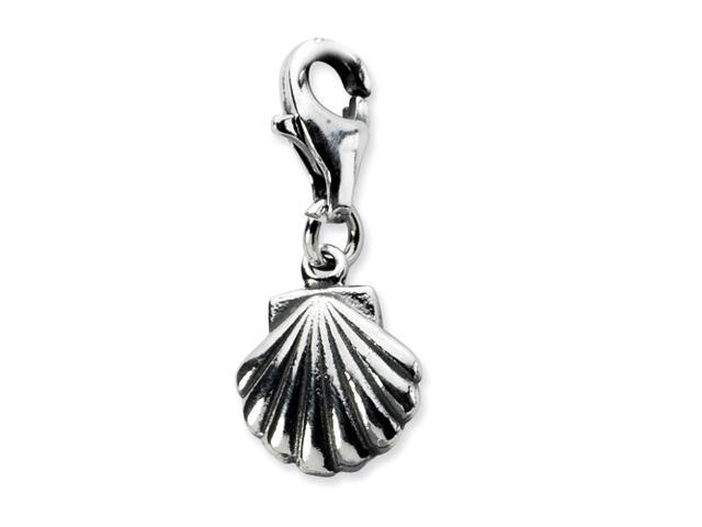 Sterling Silver Antiqued Clam Shell w/Lobster Clasp Charm