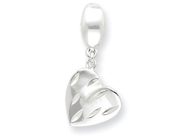 Sterling Silver Diamond Cut Polished Fancy Heart Pendant