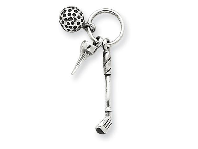 Sterling Silver Antiqued Golfer's Charm