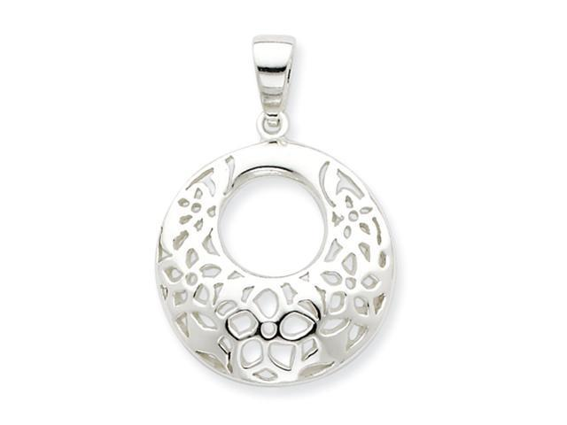 Sterling Silver Polished Poinsettia Pendant