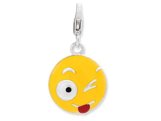 Sterling Silver Enameled Winking Eye Face w/Lobster Clasp Charm
