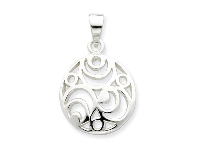 Sterling Silver Round Polished Filigree Pendant