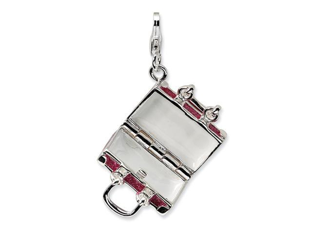 Sterling Silver 3-D Enameled Fuschia Luggage w/Lobster Clasp Charm