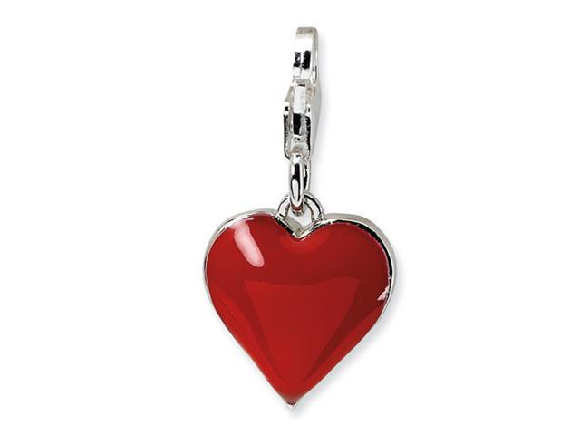 Sterling Silver 3-D CZ & Red Enamel Heart w/Lobster Clasp Charm