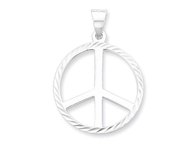 Sterling Silver Diamond-Cut Peace Symbol Pendant