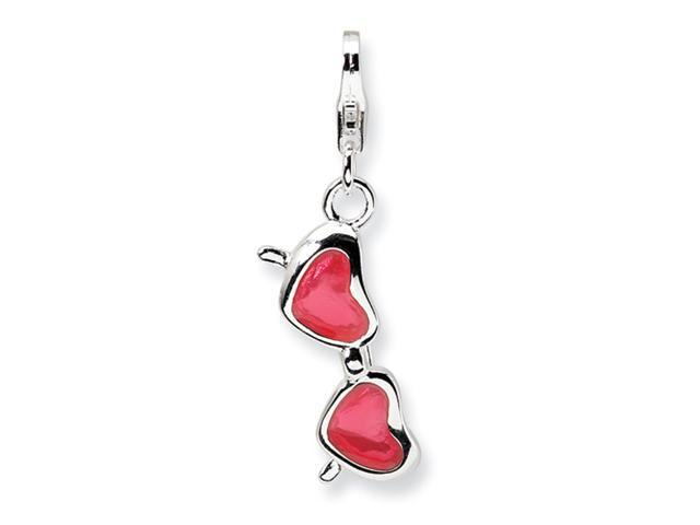 Sterling Silver Enameled Coral Heart Sunglasses w/Lobster Clasp Charm
