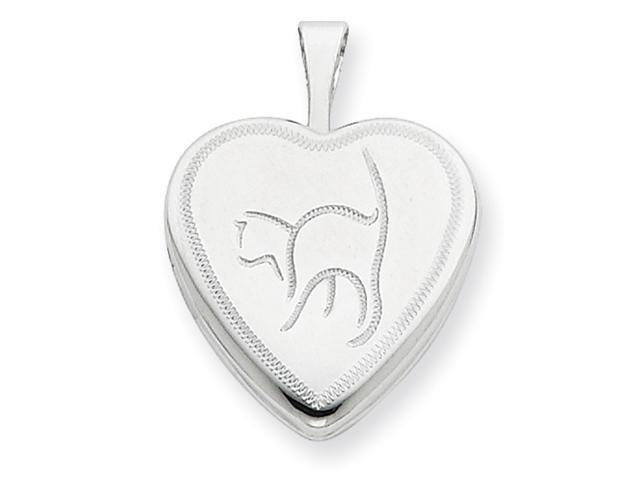Sterling Silver 16mm Cat Heart Locket