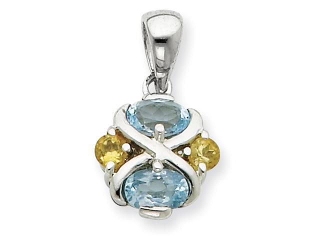 Sterling Silver Blue Topaz and Citrine Pendant