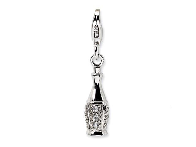 Sterling Silver CZ Champagne Bottle w/Lobster Clasp Charm