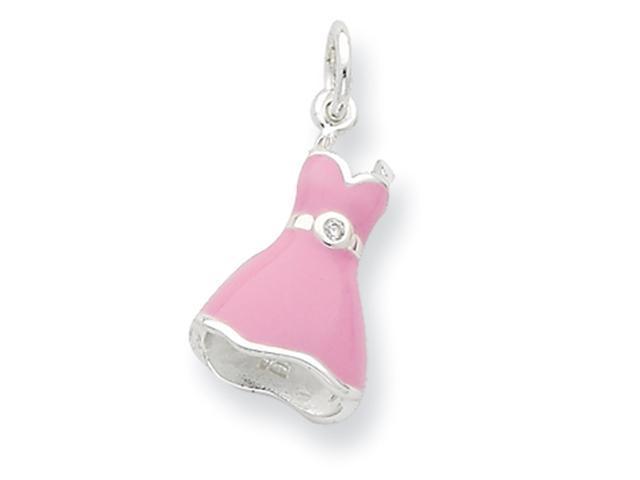 Sterling Silver White CZ Enameled Pink Dress Charm
