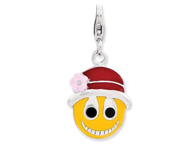 Sterling Silver Enameled Face w/Flower Hat w/Lobster Clasp Charm