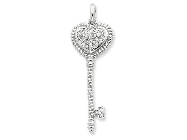 Sterling Silver CZ Heart Top Key Pendant