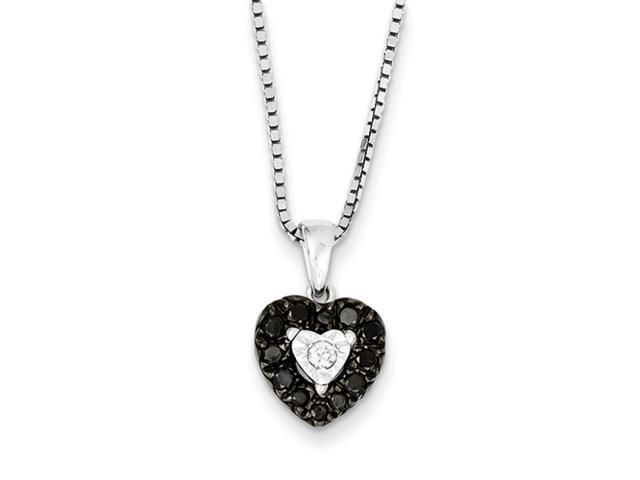 Sterling Silver Black and White Diamond Heart Pendant
