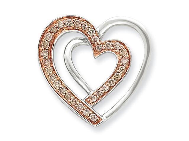 Sterling Silver & Rhodium Diamond Heart Pendant