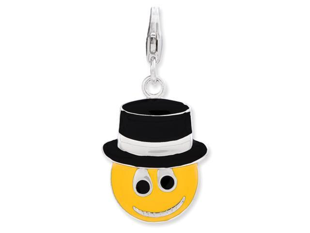 Sterling Silver Enameled Face w/Top Hat w/Lobster Clasp Charm
