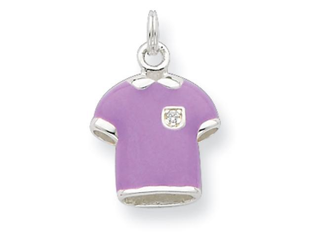 Sterling Silver CZ Purple Enameled Polished Polo Shirt Charm