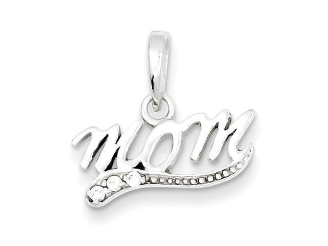Sterling Silver CZ Polished Mom Pendant