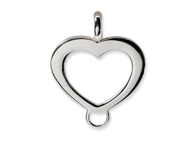 Sterling Silver Heart Shaped Charm Carrier Pendant