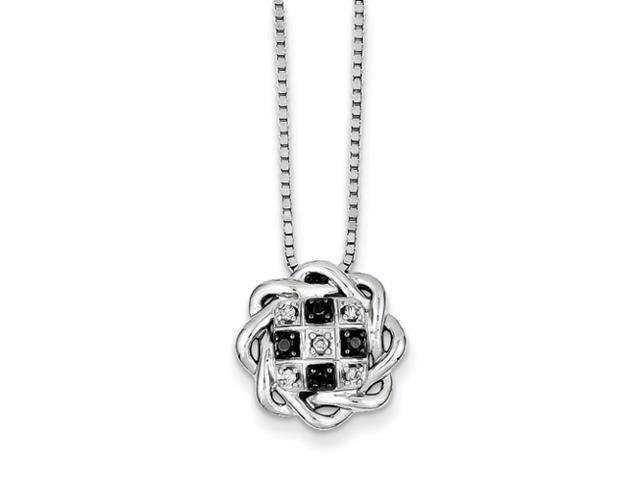 Sterling Silver Black and White Diamond Circle Pendant