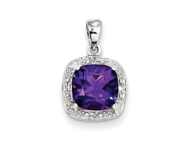 Sterling Silver Rhodium Amethyst & Diamond Pendant
