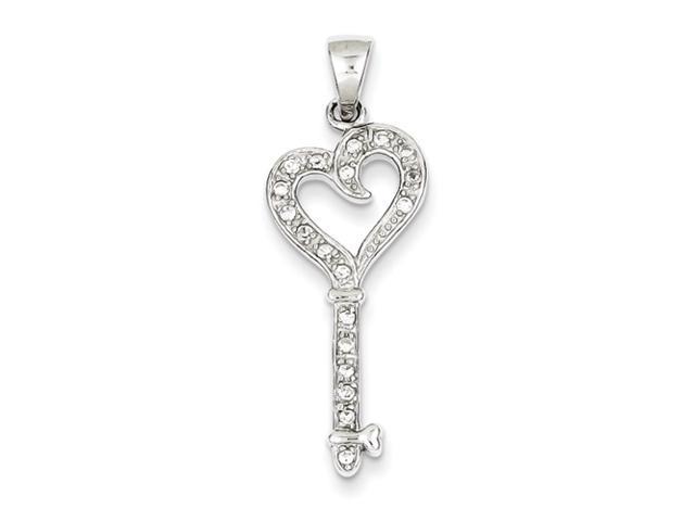Sterling Silver CZ Heart Key Pendant