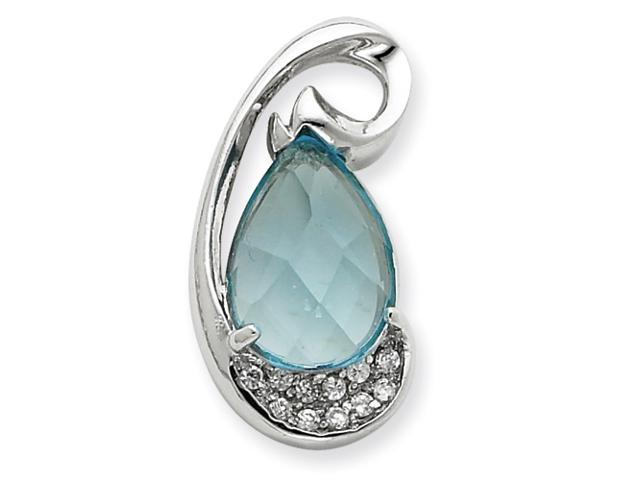 Sterling Silver Blue and Clear CZ Heart Pendant Slide