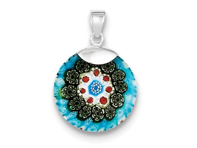 Sterling Silver Multicolored Glass Polished Circle Pendant