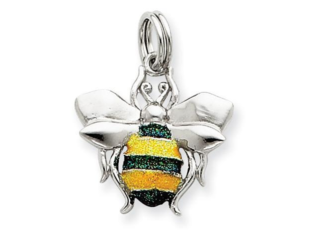 Sterling Silver Green & Yellow Enamel Bee Charm