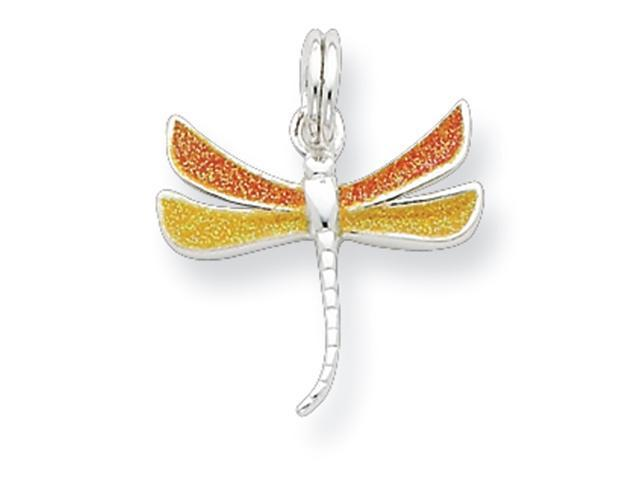 Sterling Silver Yellow & Orange Dragonfly Charm