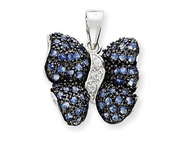 Sterling Silver Antiqued Blue CZ Butterfly Pendant
