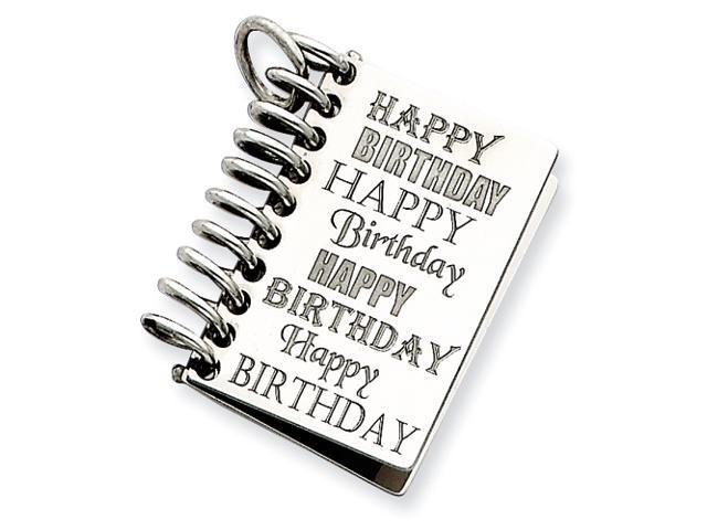 Sterling Silver Personalizable Happy Birthday Card Charm