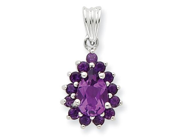 Sterling Silver Rhodium Amethyst Pear-shaped Pendant