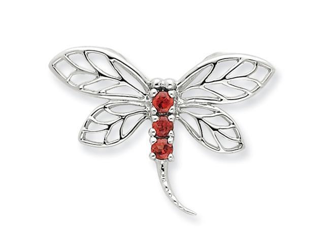 Sterling Silver Rhodium Garnet Dragonfly Pendant