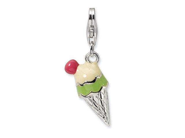 Sterling Silver 3-D Enameled Ice Cream Cone w/Lobster Clasp Charm