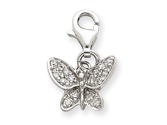 Sterling Silver CZ Butterfly Charm