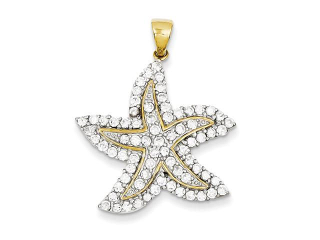 Sterling Silver Gold-Plated and CZ Starfish Pendant
