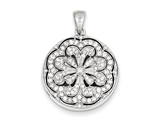 Sterling Silver CZ Circle w/ Flower Design Locket Pendant