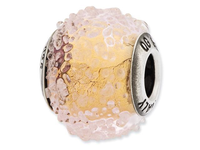 Sterling Silver Reflections Italian Yellow Textured Glass Bead