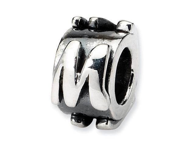 Sterling Silver Reflections Letter M Message Bead