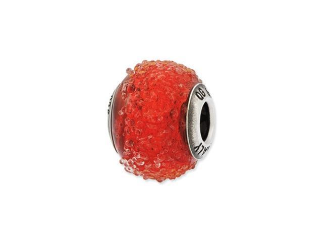 Sterling Silver Reflections Italian Red Textured Glass Bead