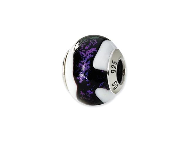 Sterling Silver Black/Purple/White Italian Murano Bead