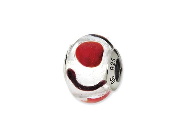 Sterling Silver White/Red/Black Italian Murano Bead