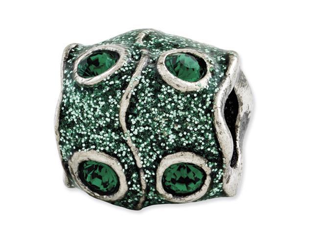 Sterling Silver Reflections Green Swarovski Elements & Enamel Bead