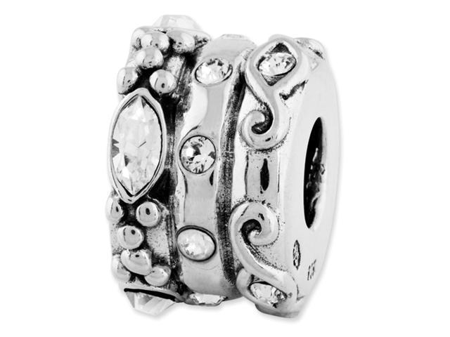 Sterling Silver Reflections Swarovski Elements Fancy Bali Bead