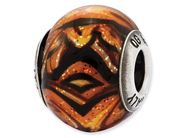 Sterling Silver Reflections Italian Decorative Orange Glass Bead