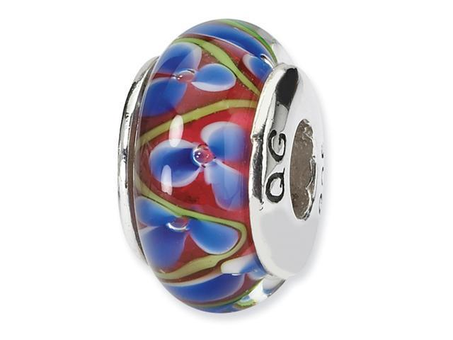 Sterling Silver Reflections Blue/Red Hand-blown Glass Bead