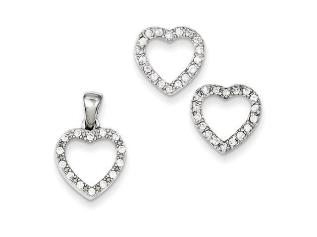 Sterling Silver CZ Heart Pendant & Earring Set