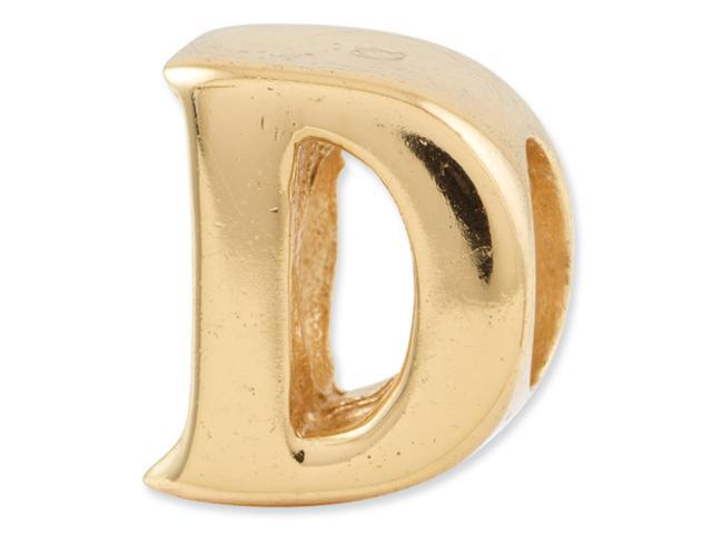Sterling Silver Gold-plated Reflections Letter D Bead