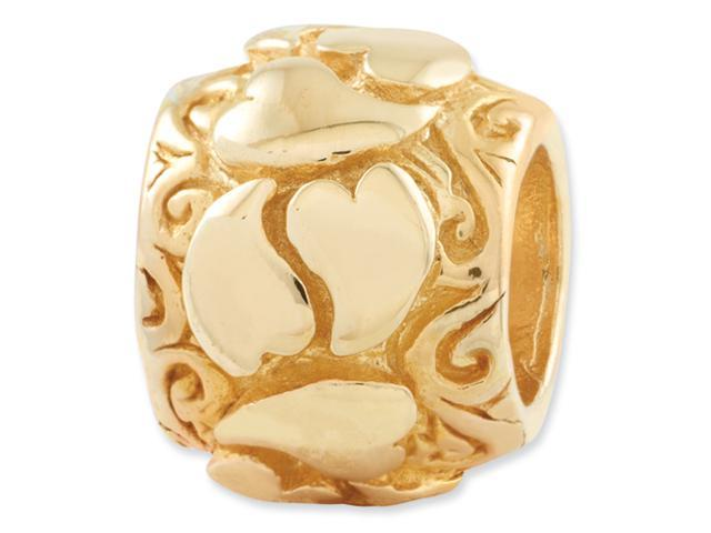 Sterling Silver Gold-plated Reflections Hearts Bead